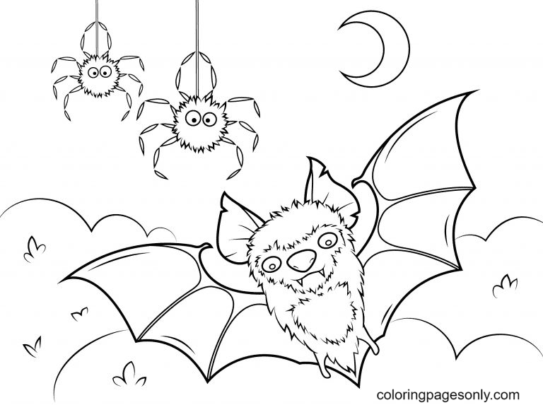 Halloween Spiders and Bats Coloring Page