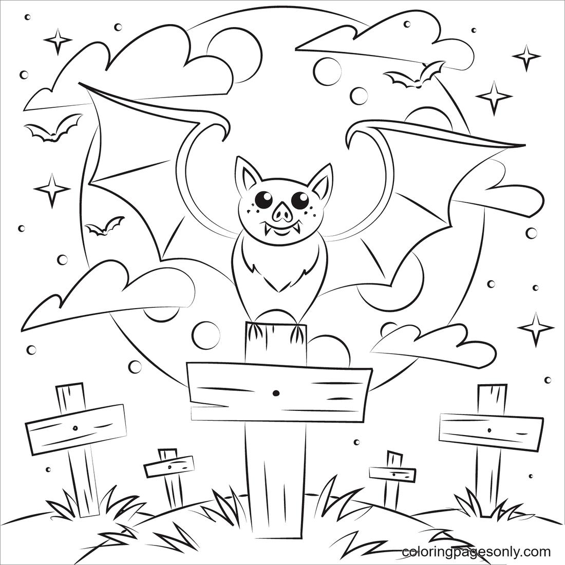 Halloween Vampire Bat Coloring Page