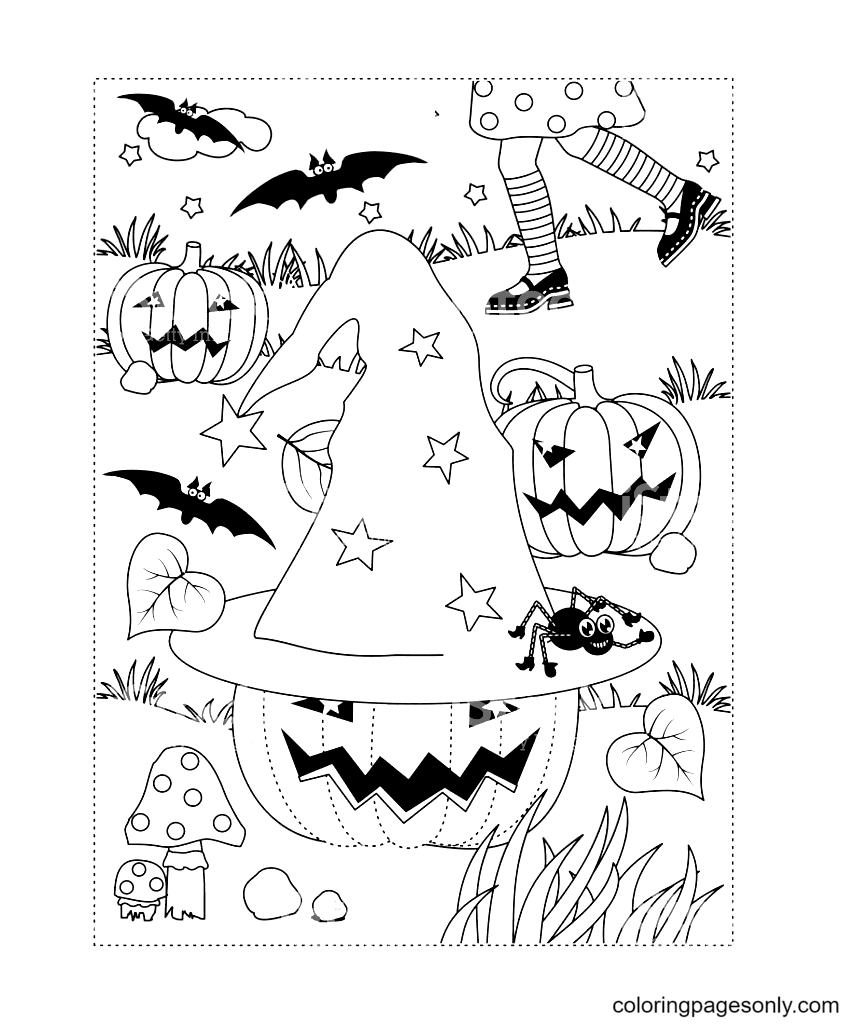Halloween Witch Hat With Stars Coloring Page
