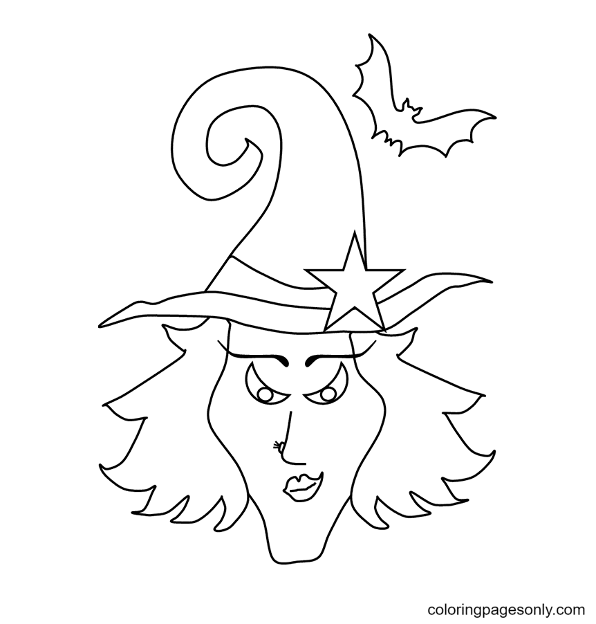 Halloween Witch Mask Coloring Page