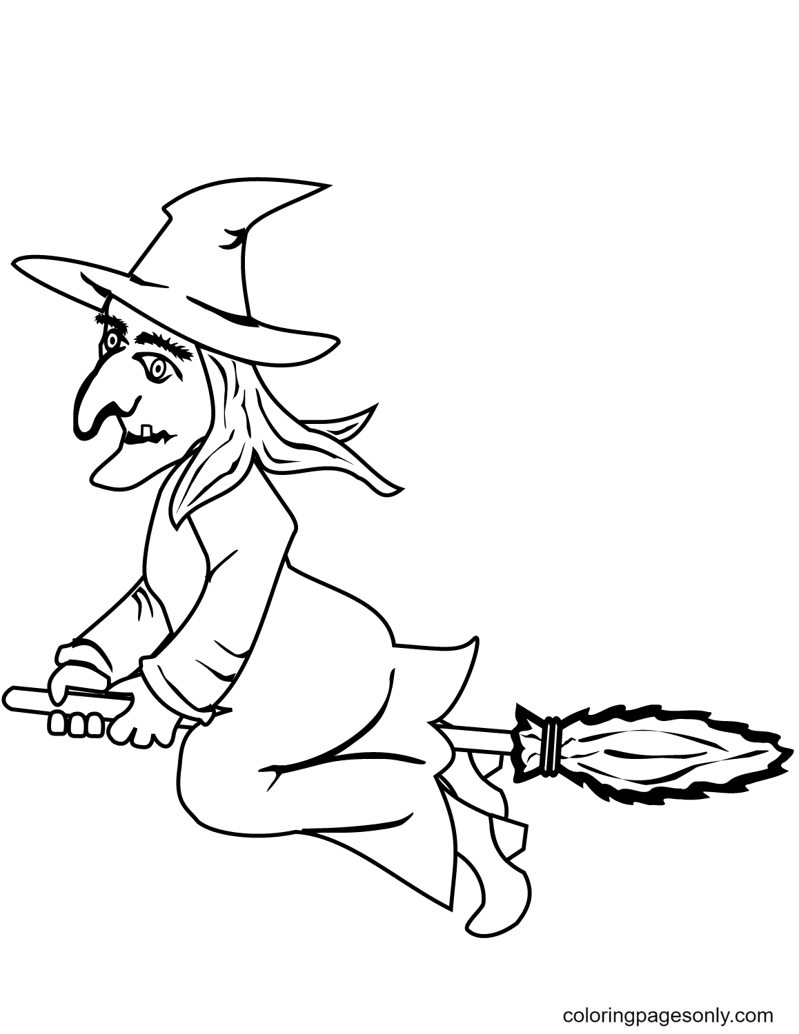 Halloween Witch on a Broom Coloring Page