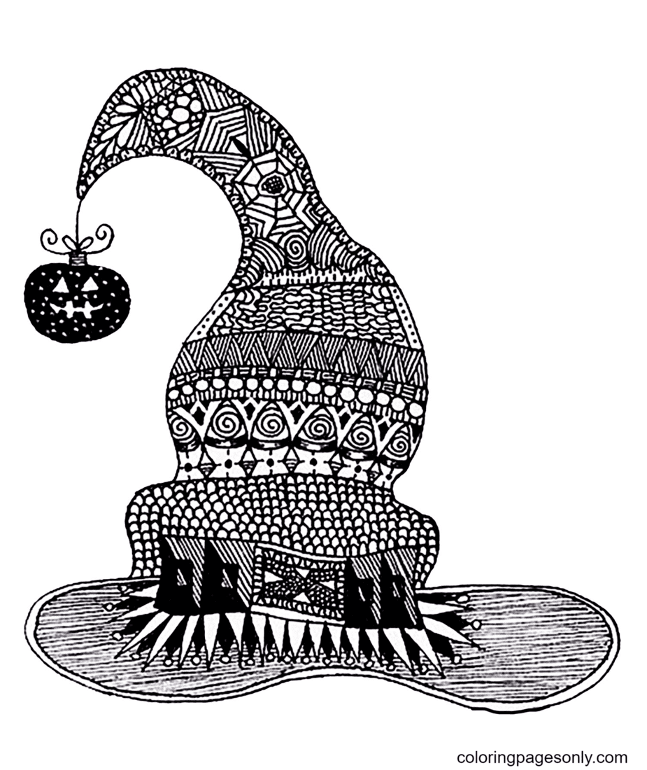Halloween Zentangle Witch Hat Coloring Page
