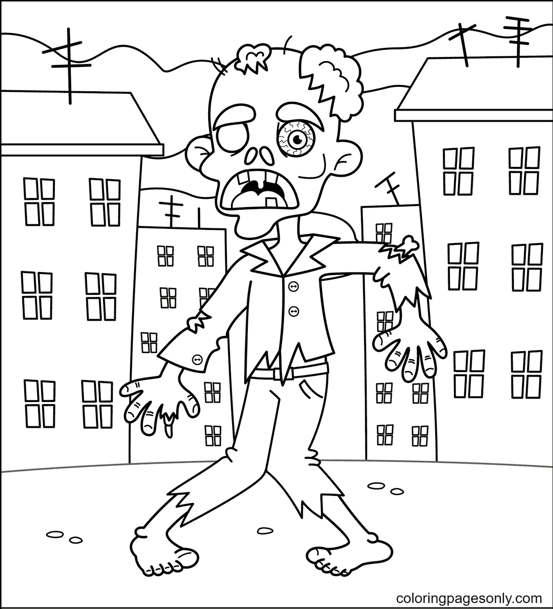Halloween Zombie Coloring Page