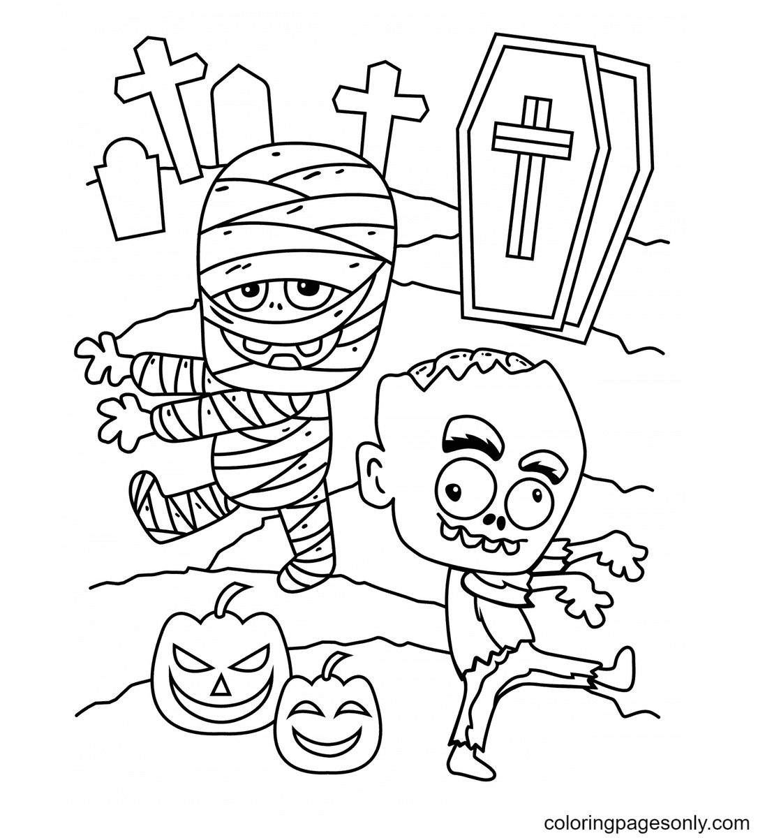 Halloween a Mummy and a Zombie Coloring Page
