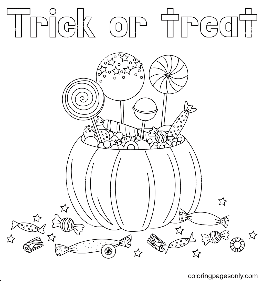 Halloween pumpkin and candies Coloring Page