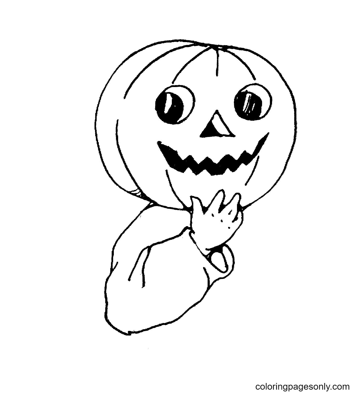 Halloween pumpkin on boy's head Coloring Page