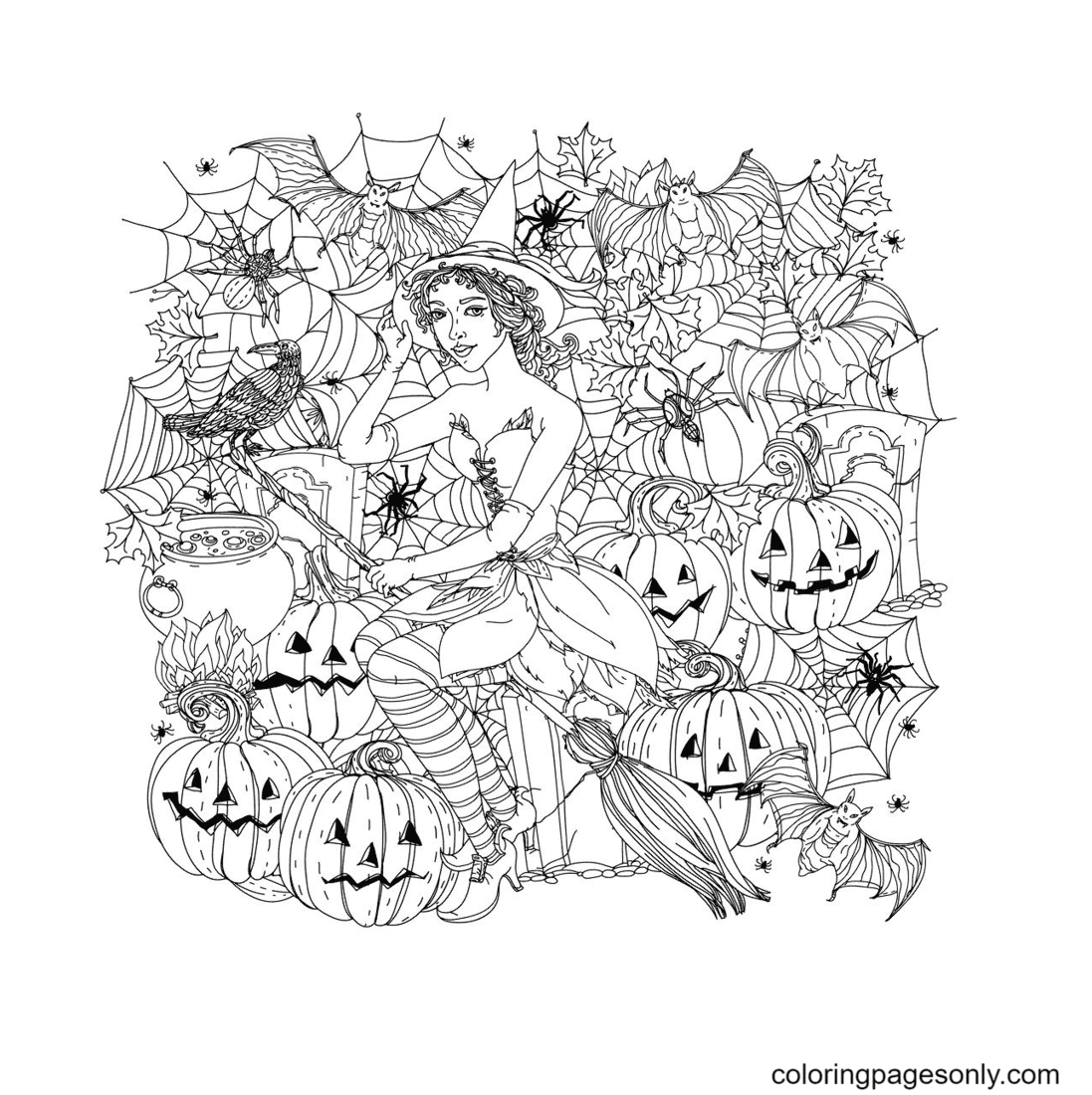 Halloween witch with pumpkins Coloring Page
