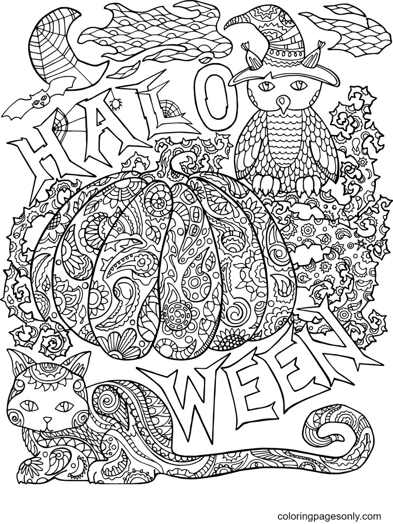 Halloween with Pumpkin Halloween Coloring Page