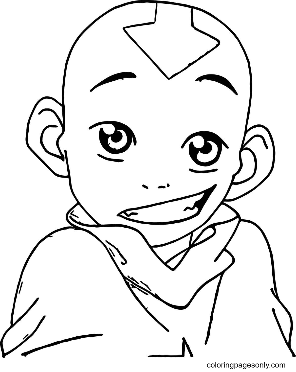 Happy Aang Coloring Page