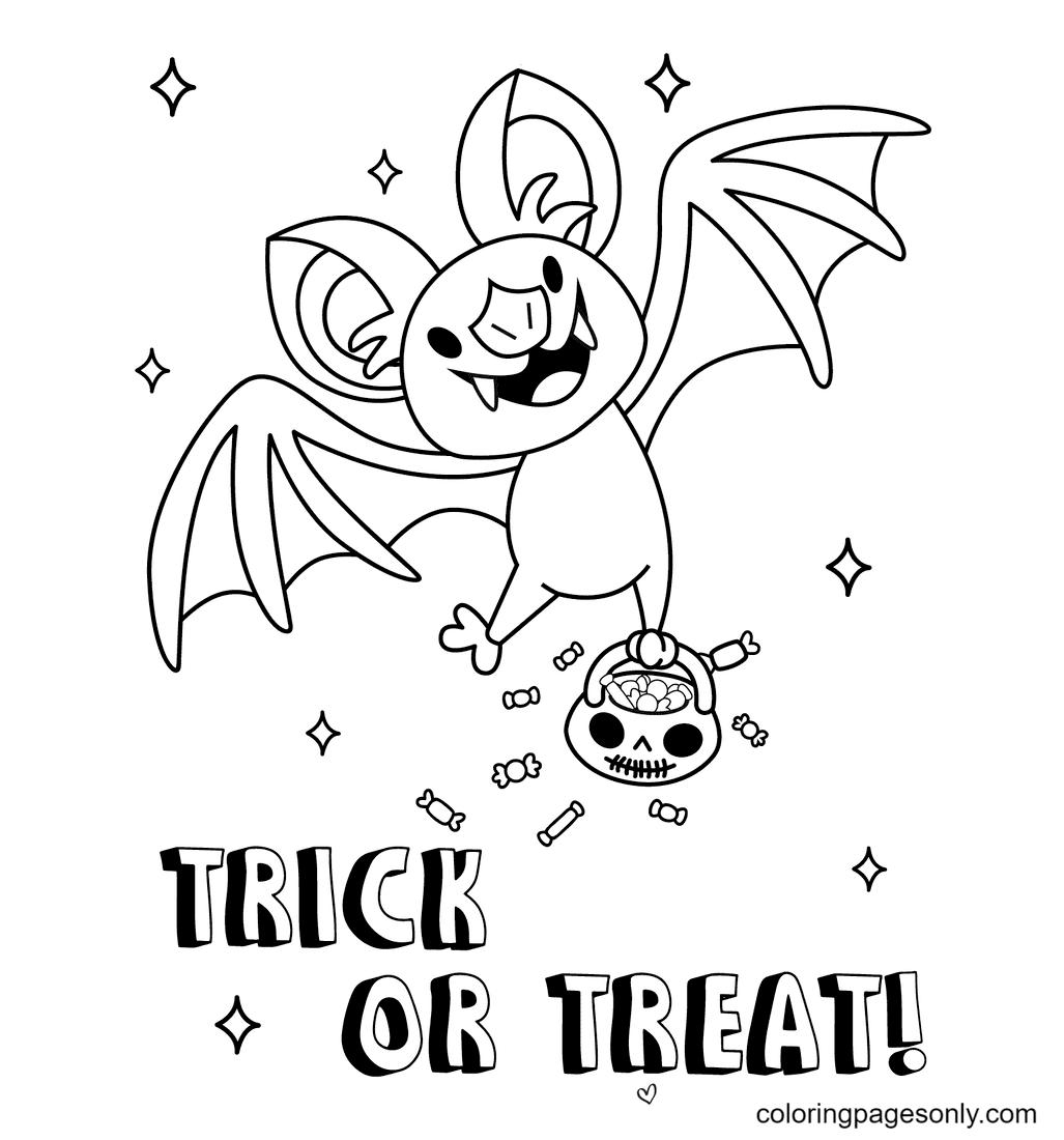 Happy Bat Halloween Coloring Page