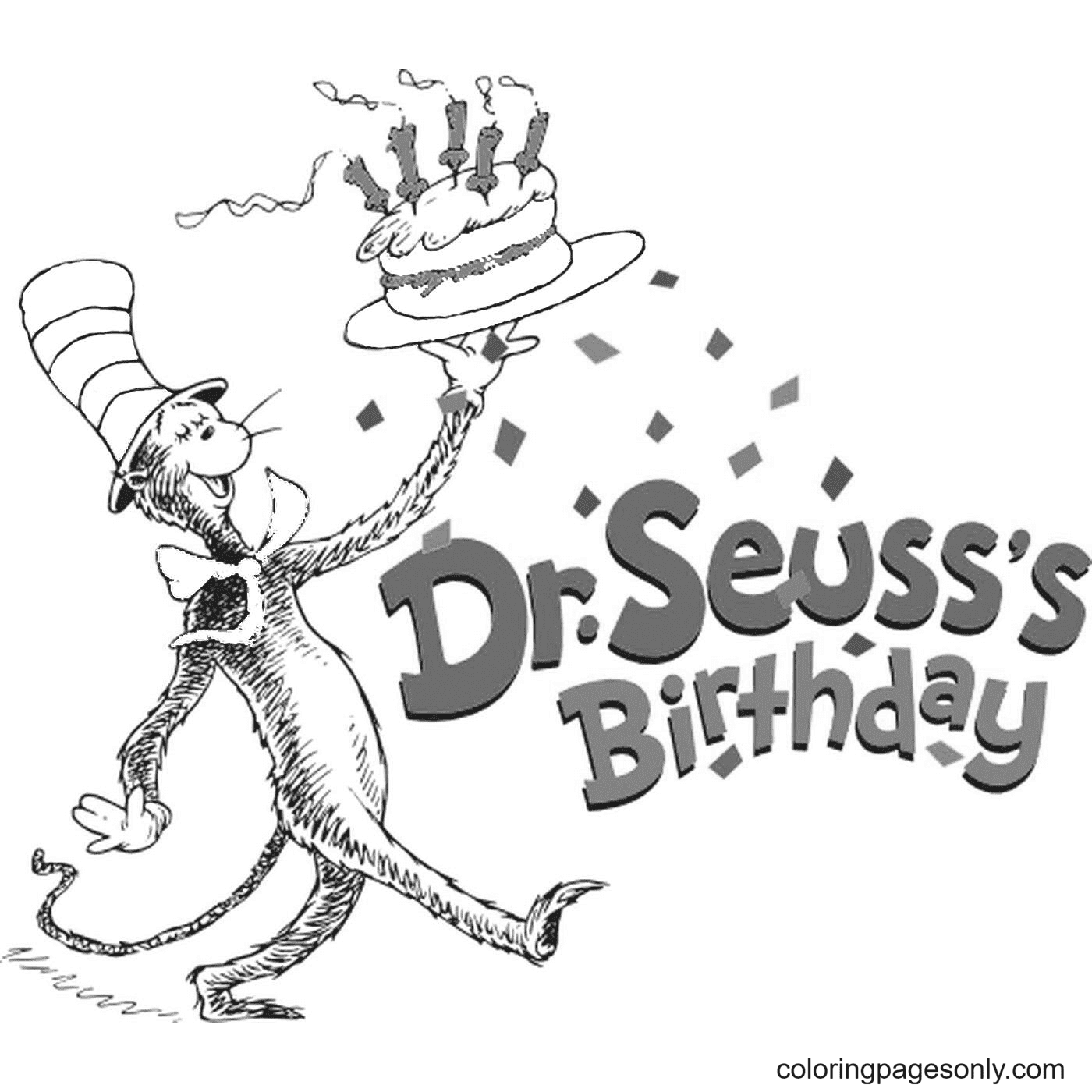 Happy Birthday Dr Seuss Free to Print Coloring Page
