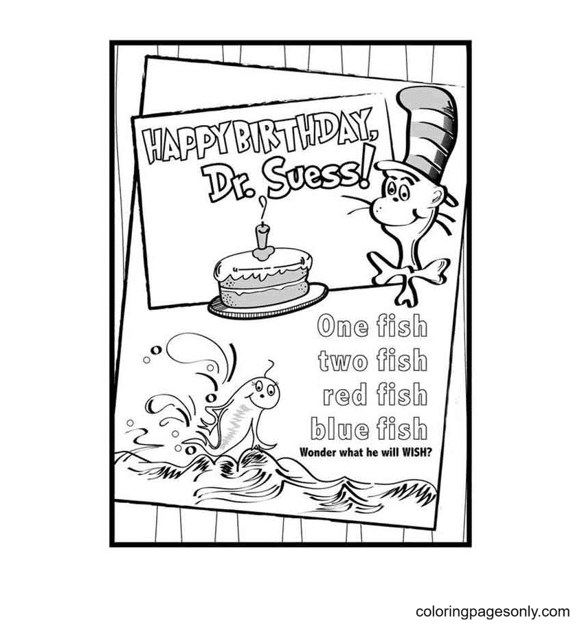 Happy Birthday Dr Seuss Printable Coloring Page