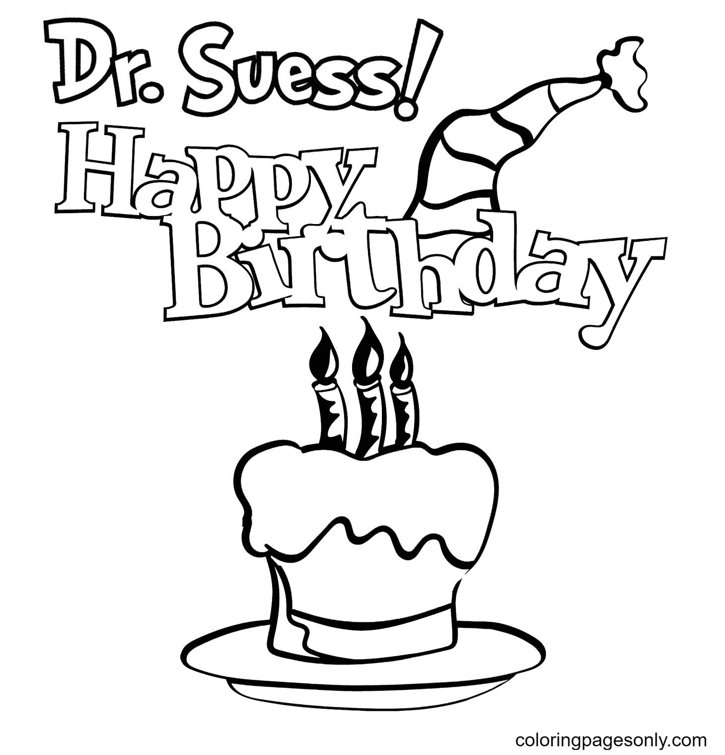 Happy Birthday Dr Seuss with Hat and Cake Coloring Page