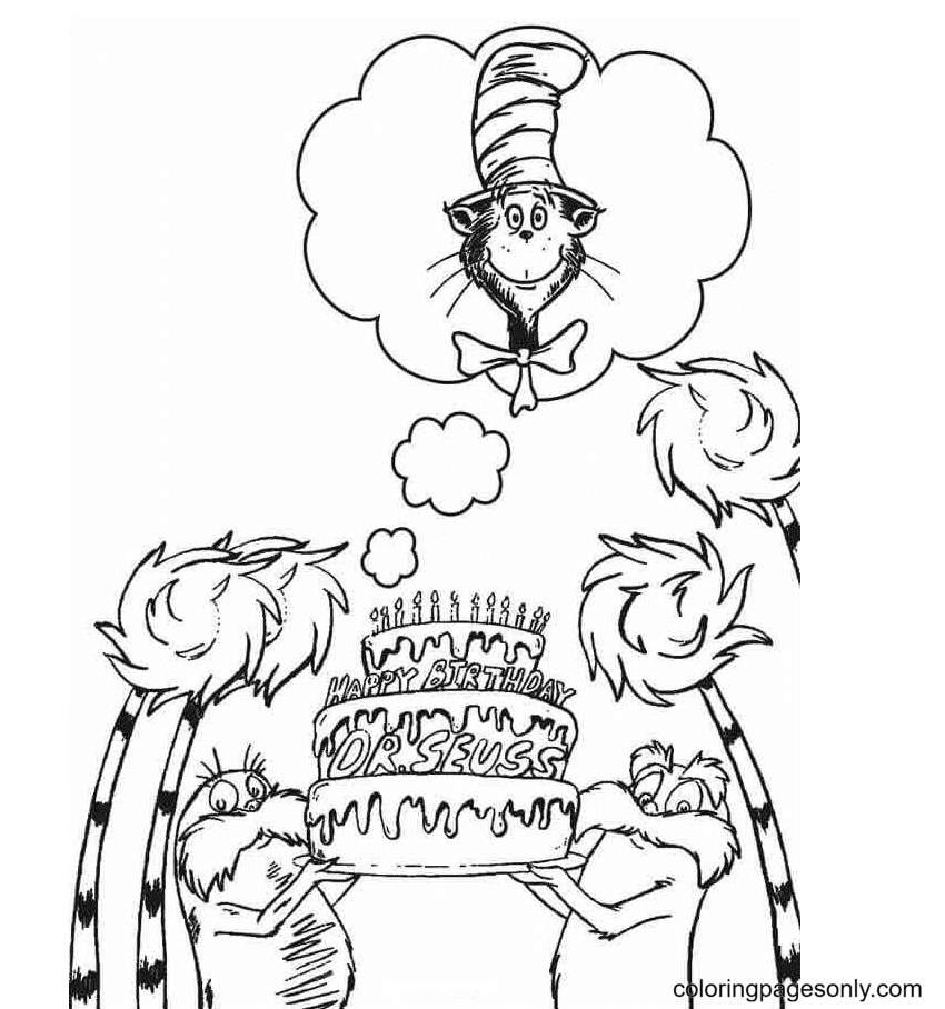 Happy Birthday Dr Seuss Coloring Page