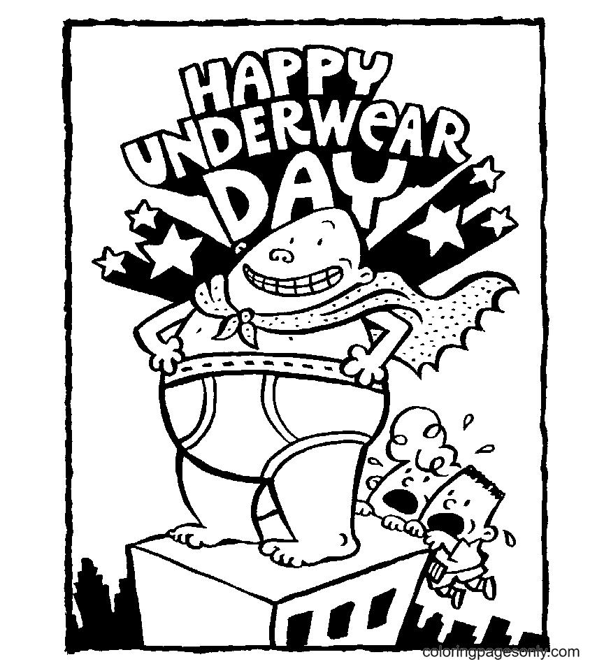 Happy Captain Underpants Coloring Page