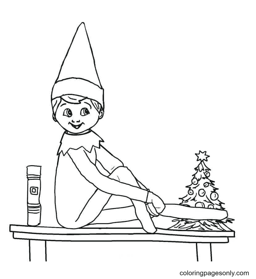 Happy Elf on the Shelf Coloring Page