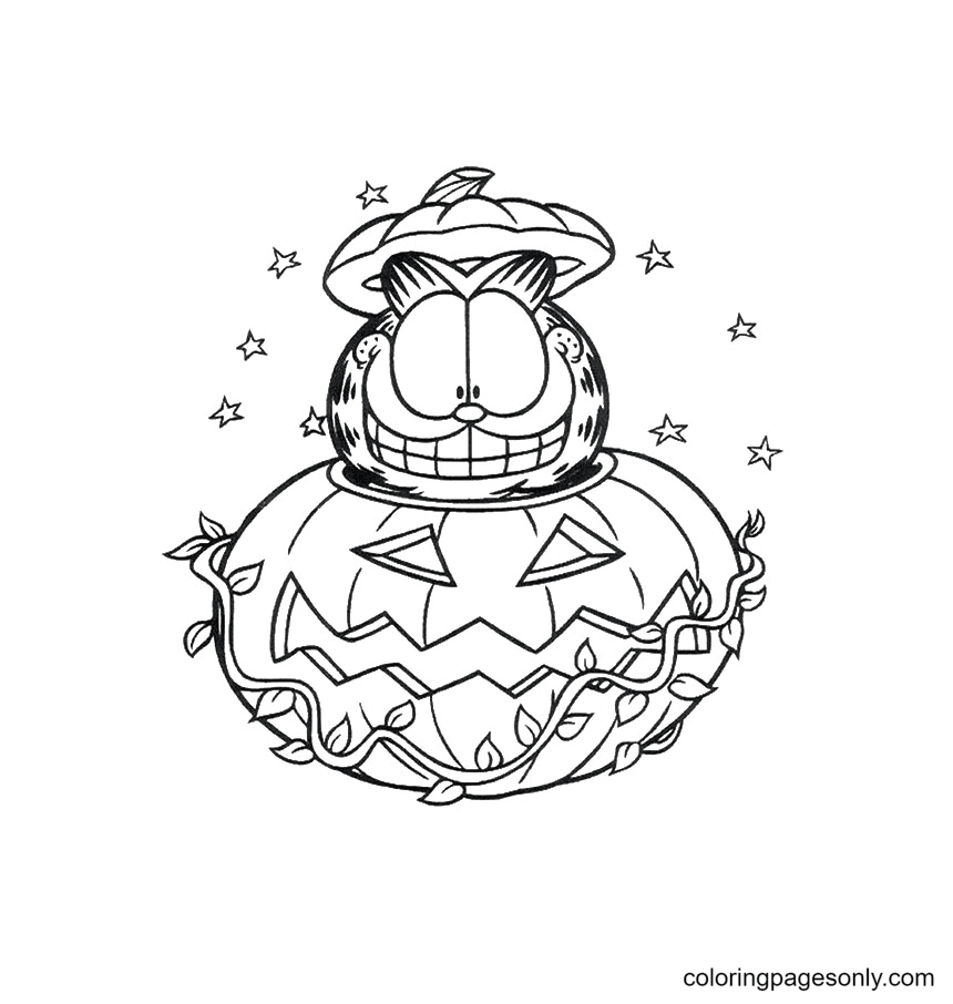 Happy Garfield In Halloween Pumpkin Coloring Page