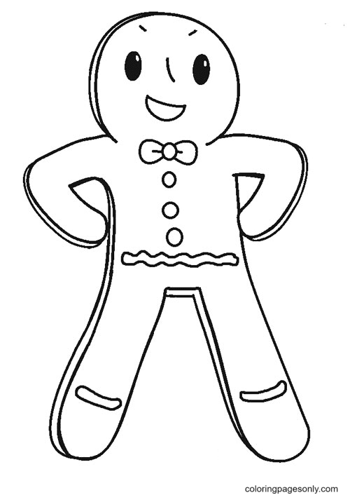 Happy Gingerbread Man Coloring Page