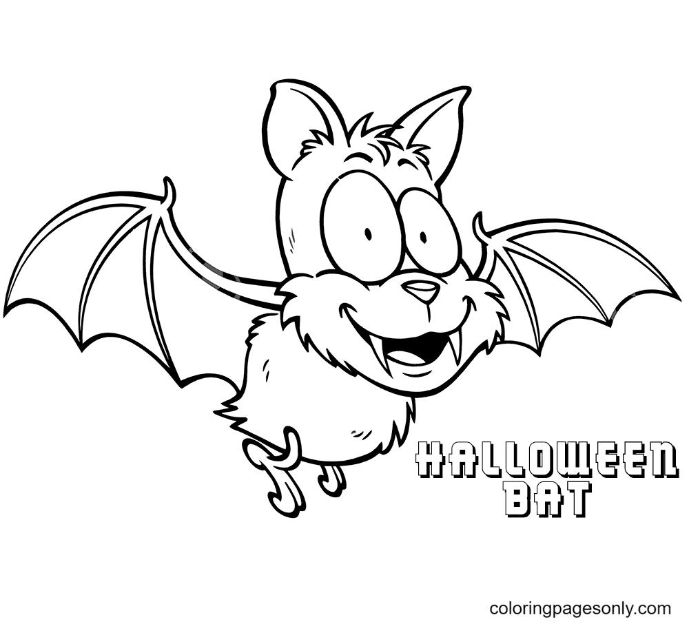 Happy Halloween Bat Vampires Coloring Page