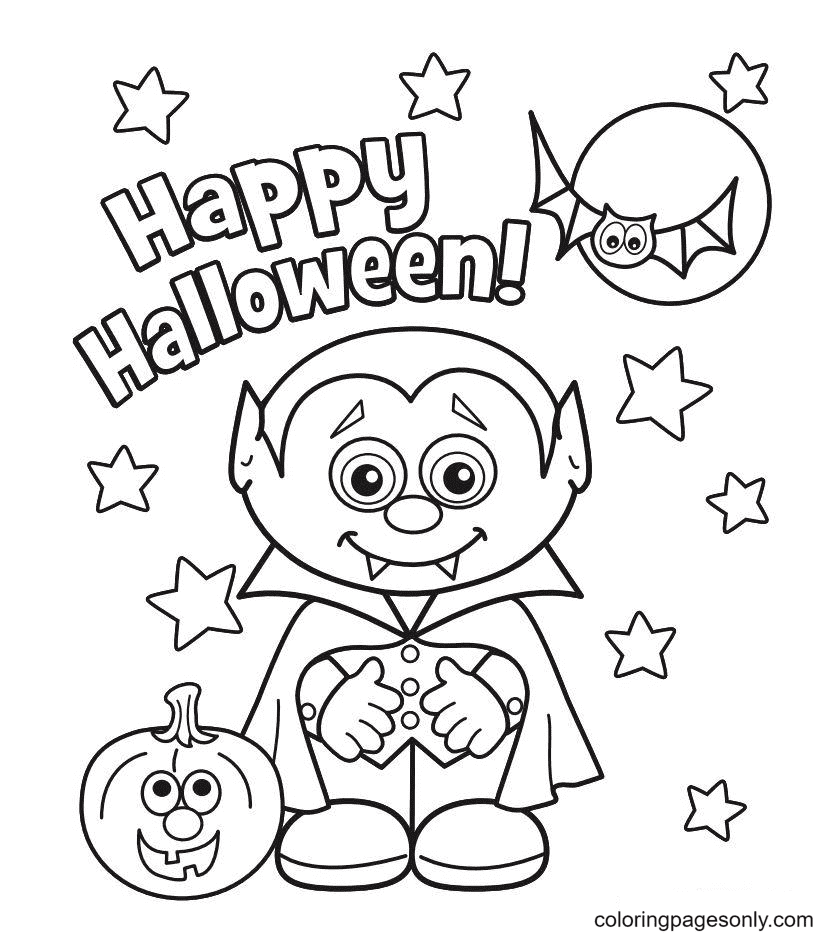 Happy Halloween Monster Coloring Page