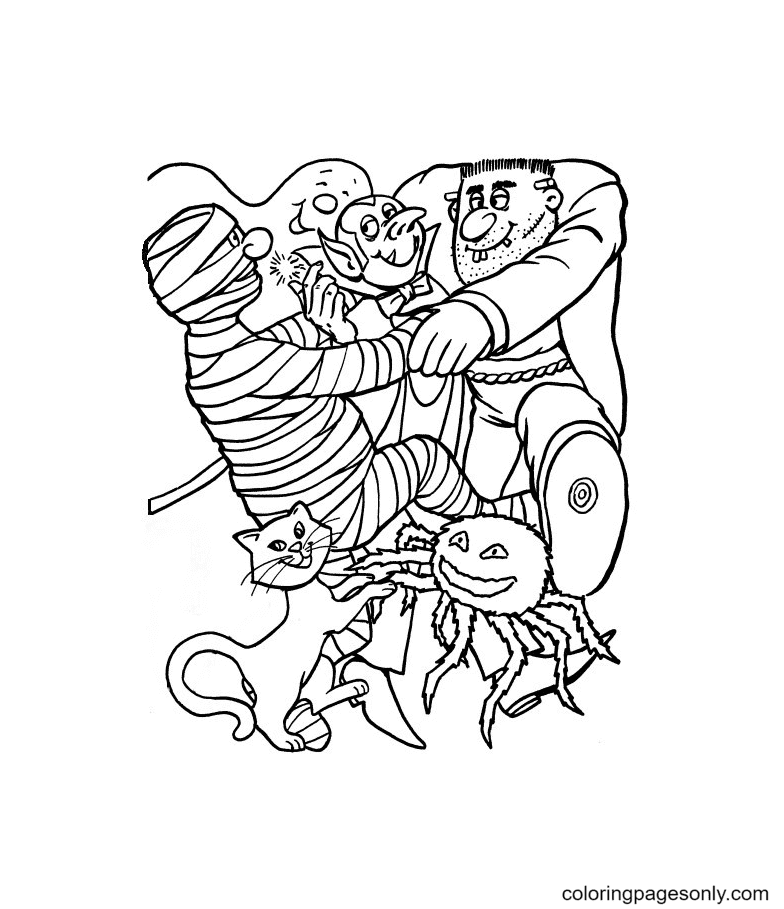 Happy Halloween Monsters Coloring Page