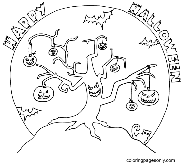 Happy Halloween October Coloring Page