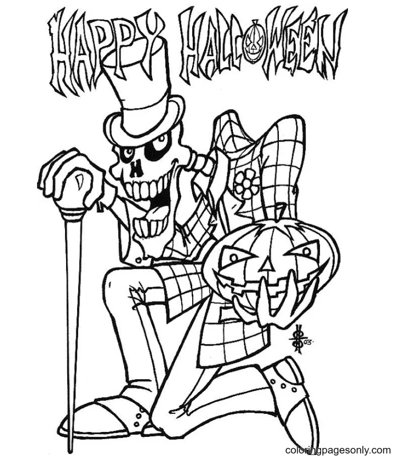 Happy Halloween Old Skull Pumpkin Coloring Page