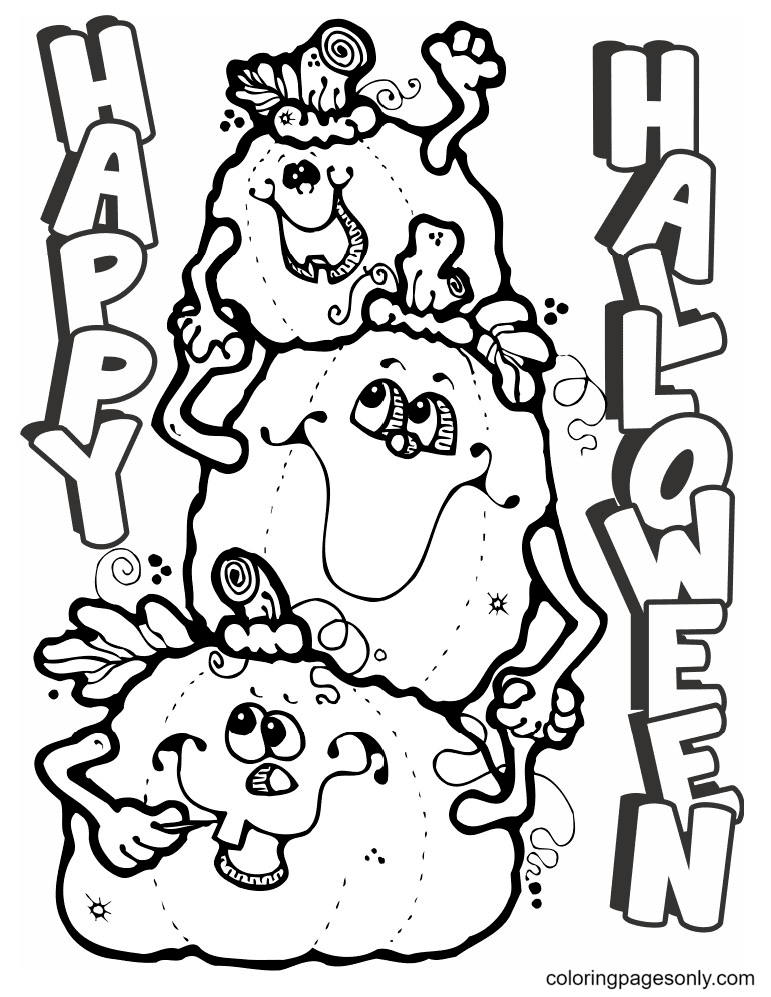 Happy Halloween Pumpkin to print Coloring Page