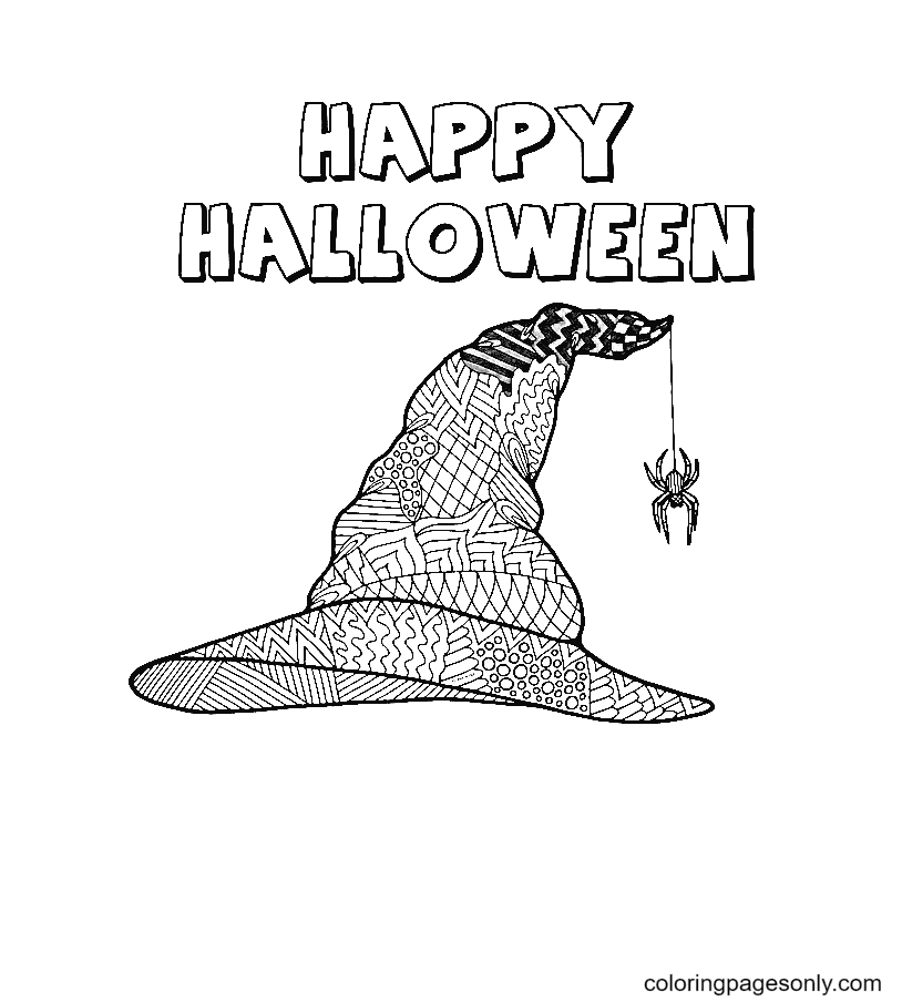 Happy Halloween Witch Hat Coloring Page
