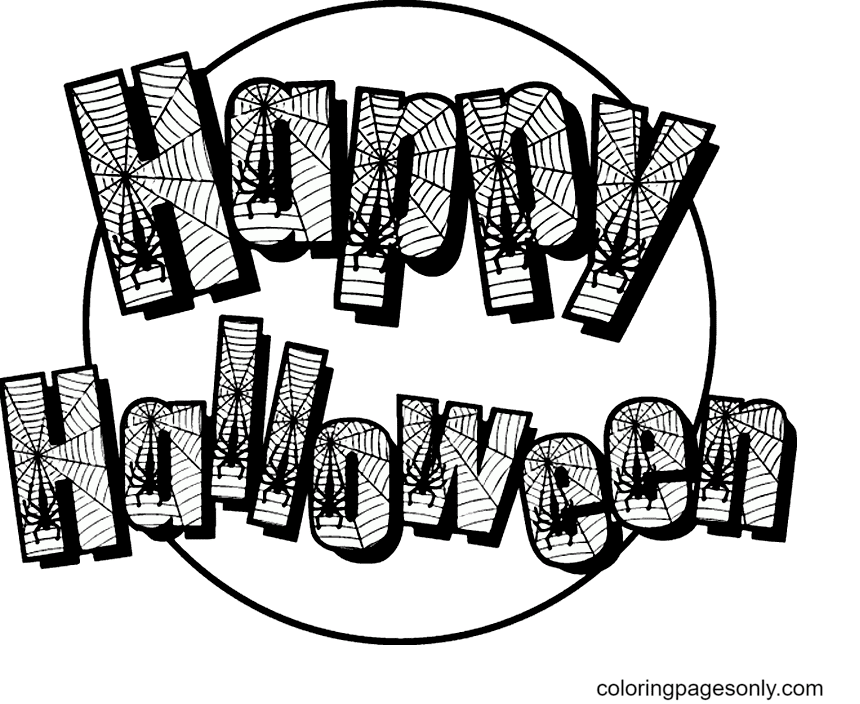 Happy Halloween with Spider Webs Coloring Page