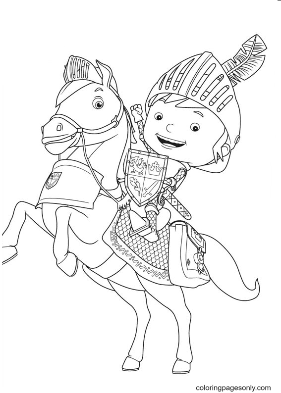 Happy Knight Mike Coloring Page