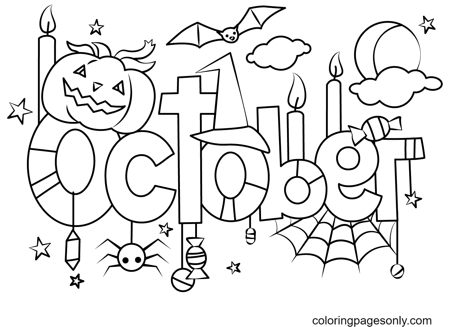 Happy October Month Coloring Page
