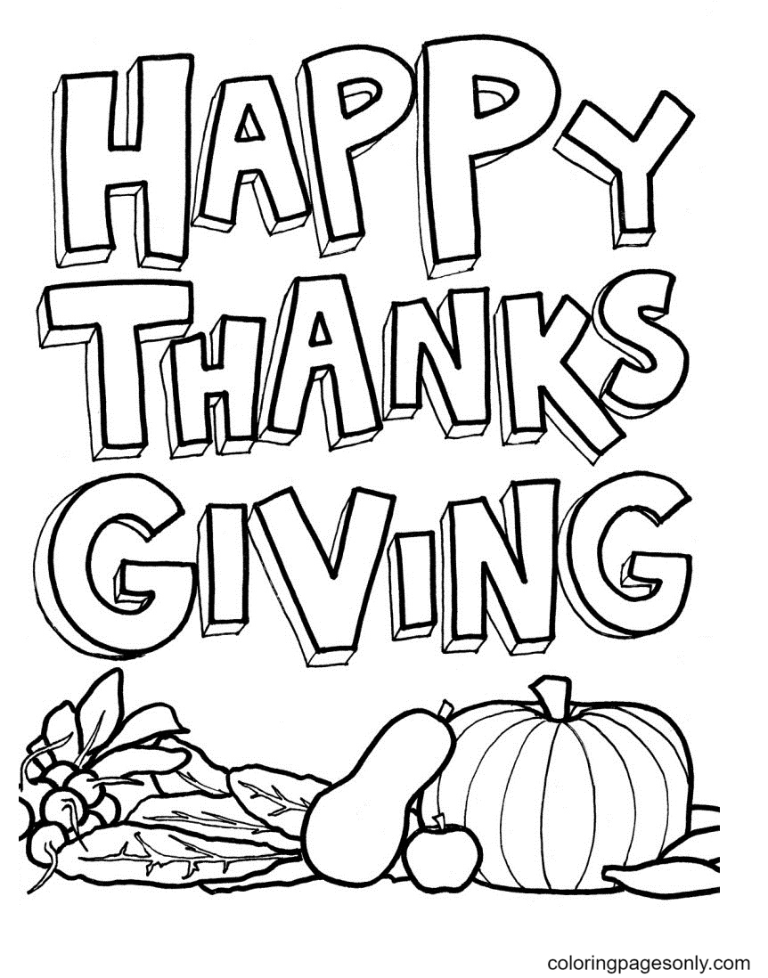 Happy Thanksgiving Printable Coloring Page