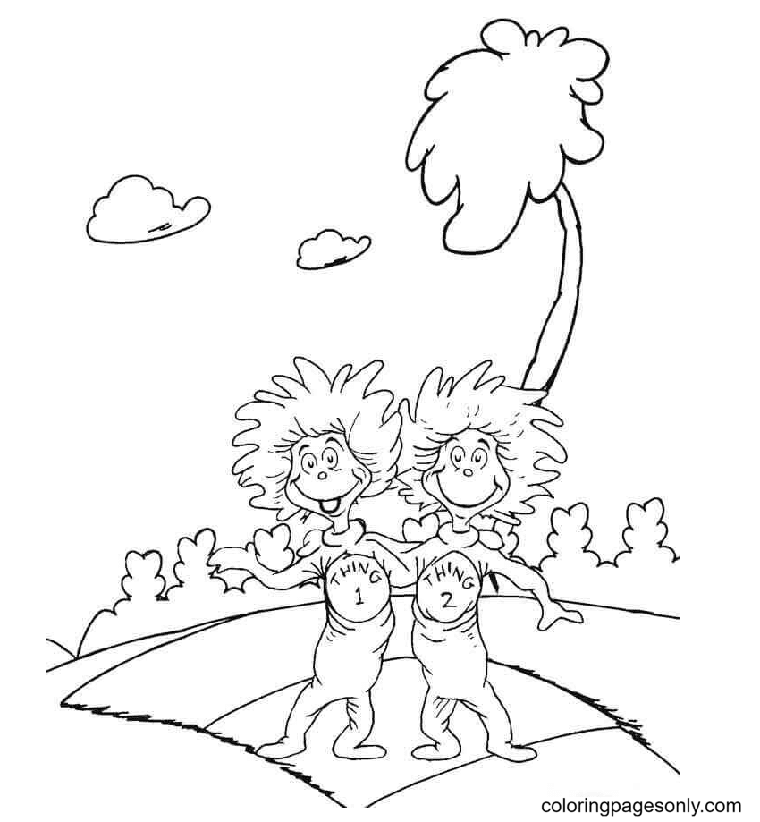 Happy Thing One And Thing Two Coloring Page