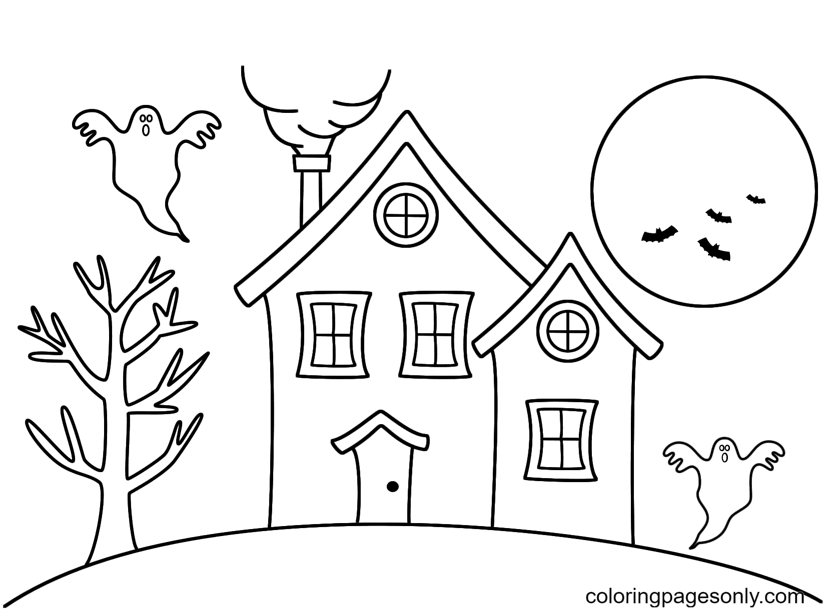 Haunted House Free Coloring Page