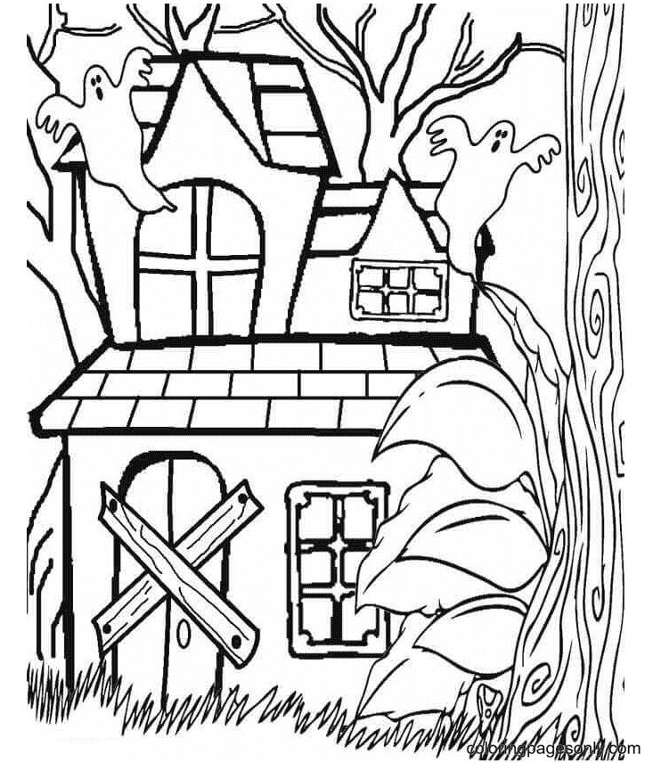Haunted House In The Forest Coloring Page