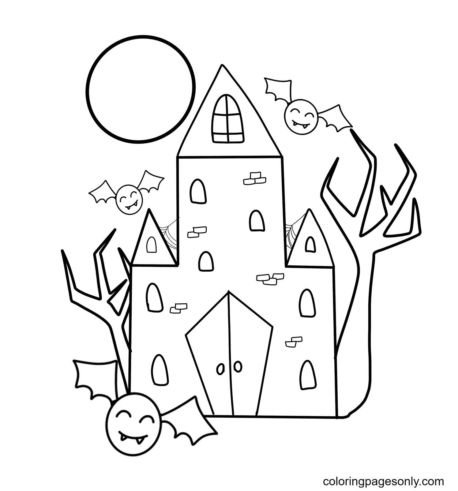 Haunted House and Cute Bats Coloring Page