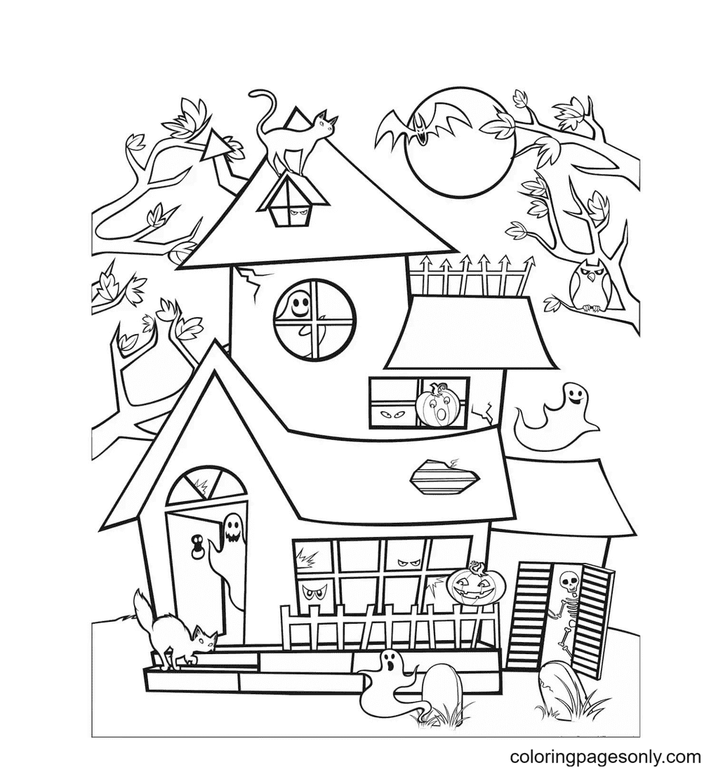 Haunted House and Ghosts Coloring Page