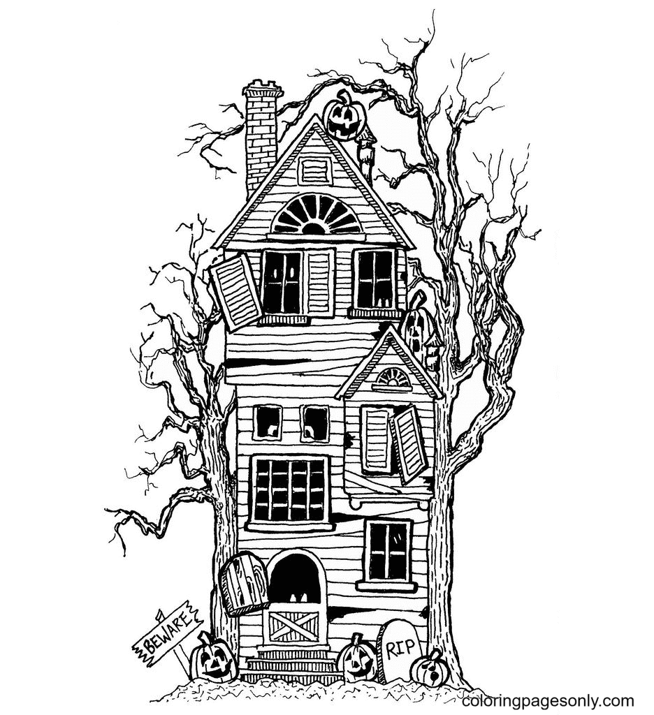 Haunted House and Scary Pumpkin Lights Coloring Page