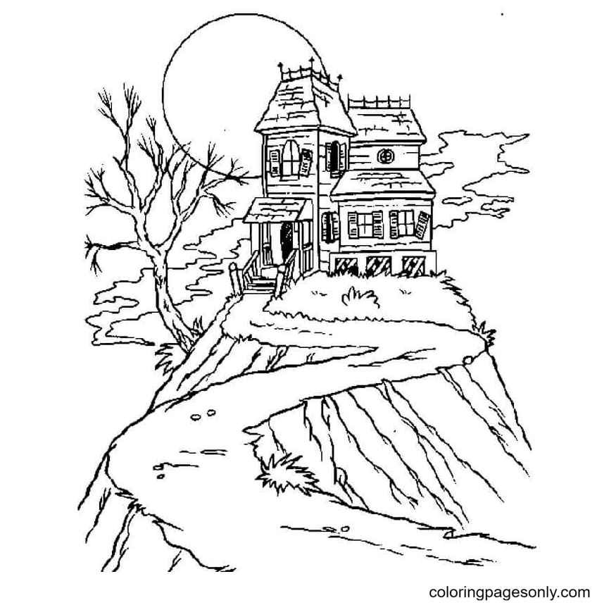 Haunted House printable Coloring Page