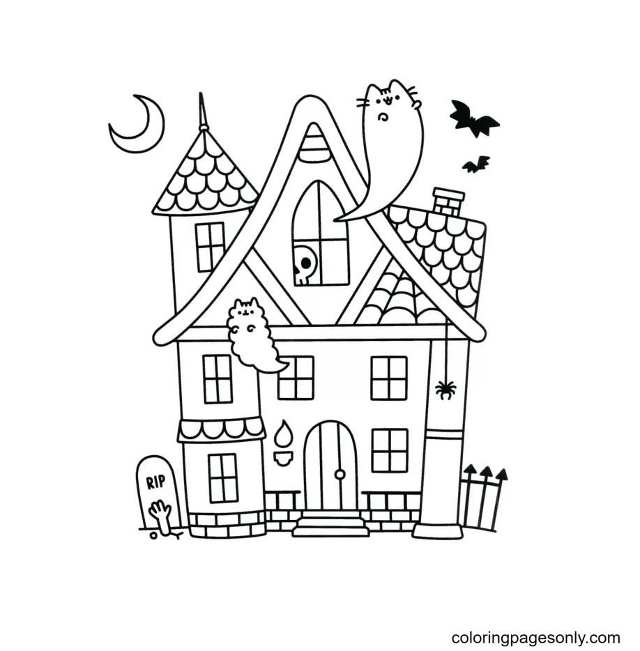 Haunted House with Funny Ghosts Coloring Page