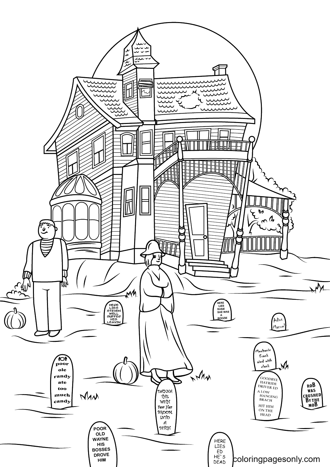 Haunted House with Many Tombstones Coloring Page