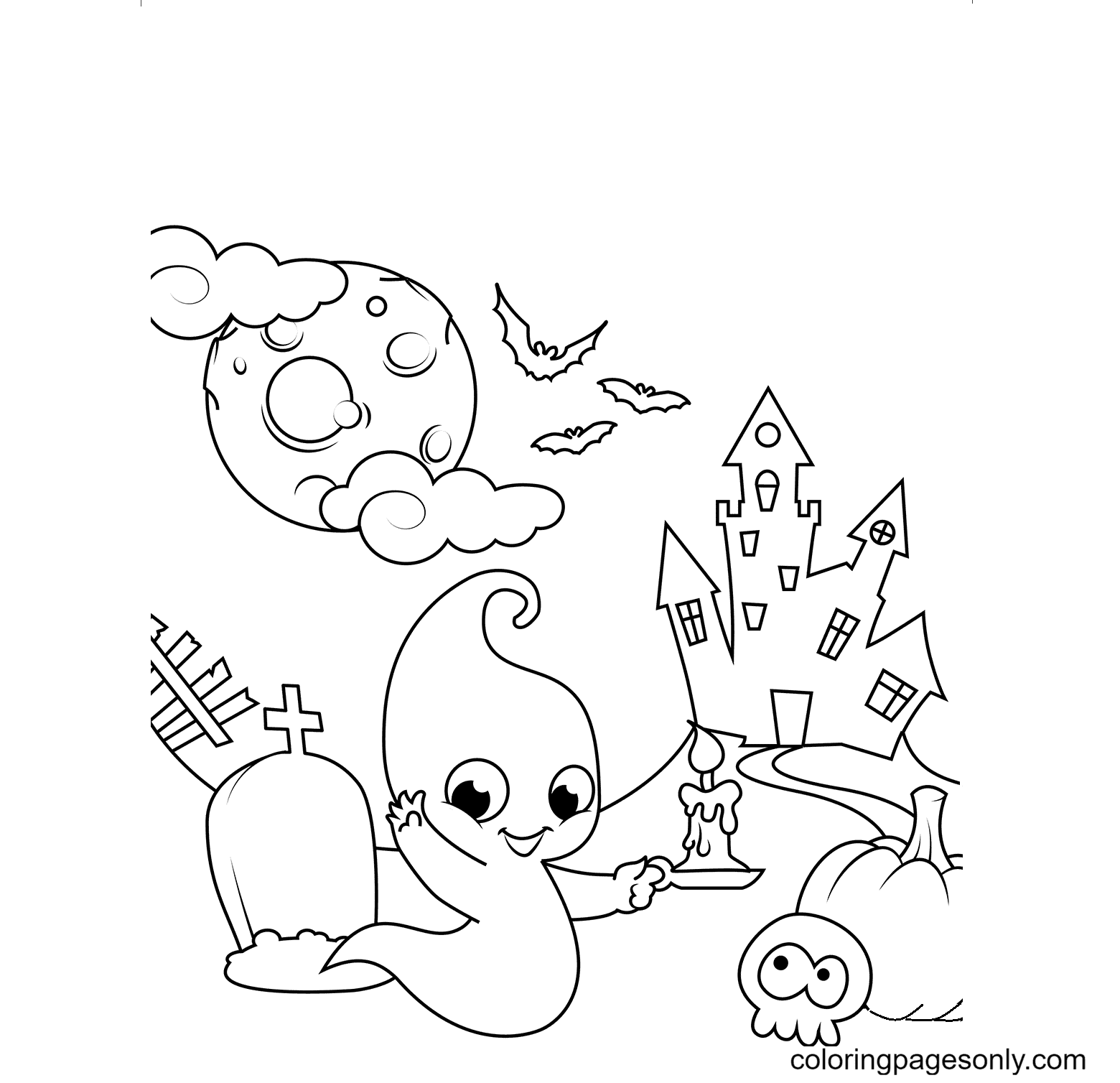 Haunted House with a Cute Ghost Coloring Page