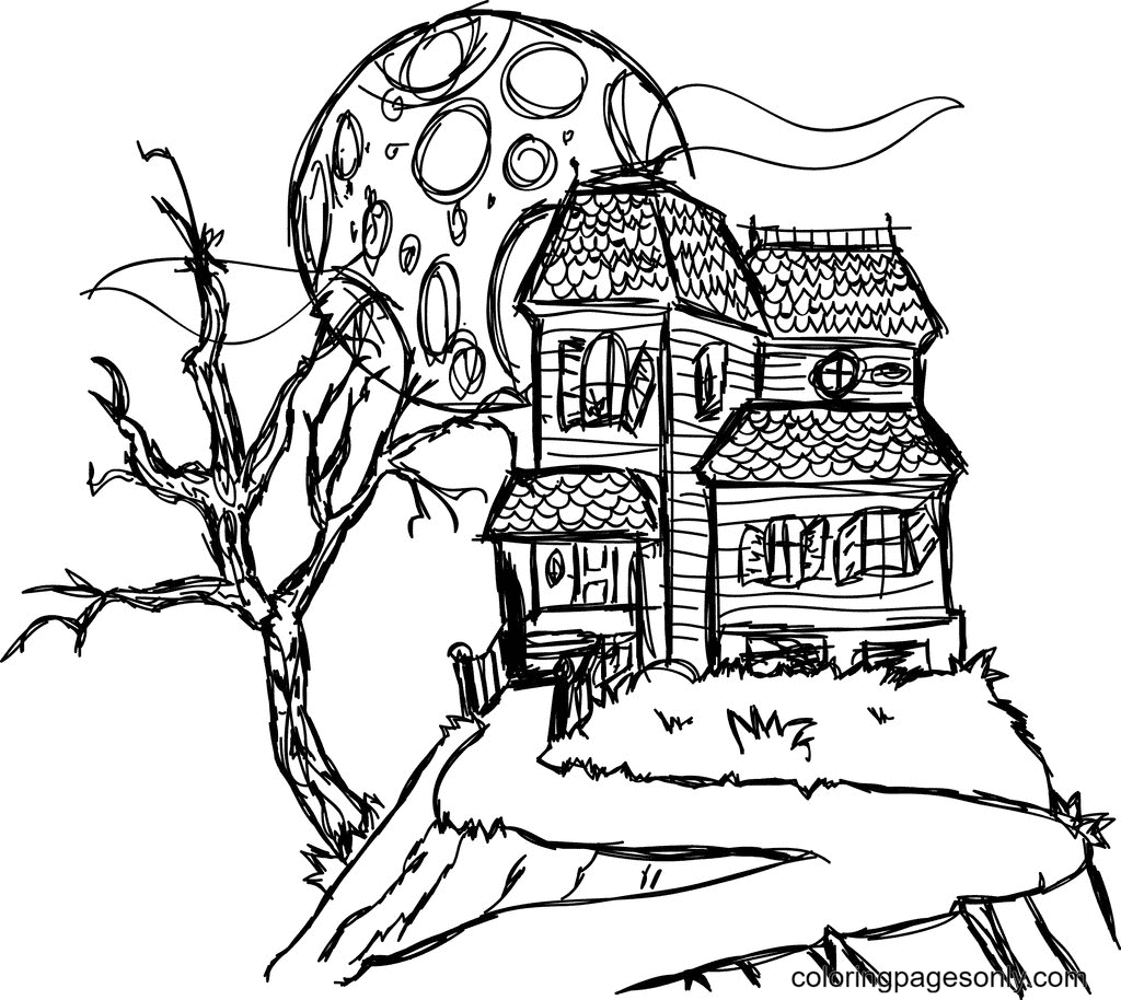 Haunted Houses Free Coloring Page