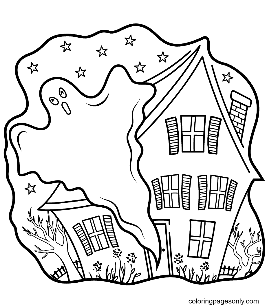 Haunted Houses with Ghost Coloring Page
