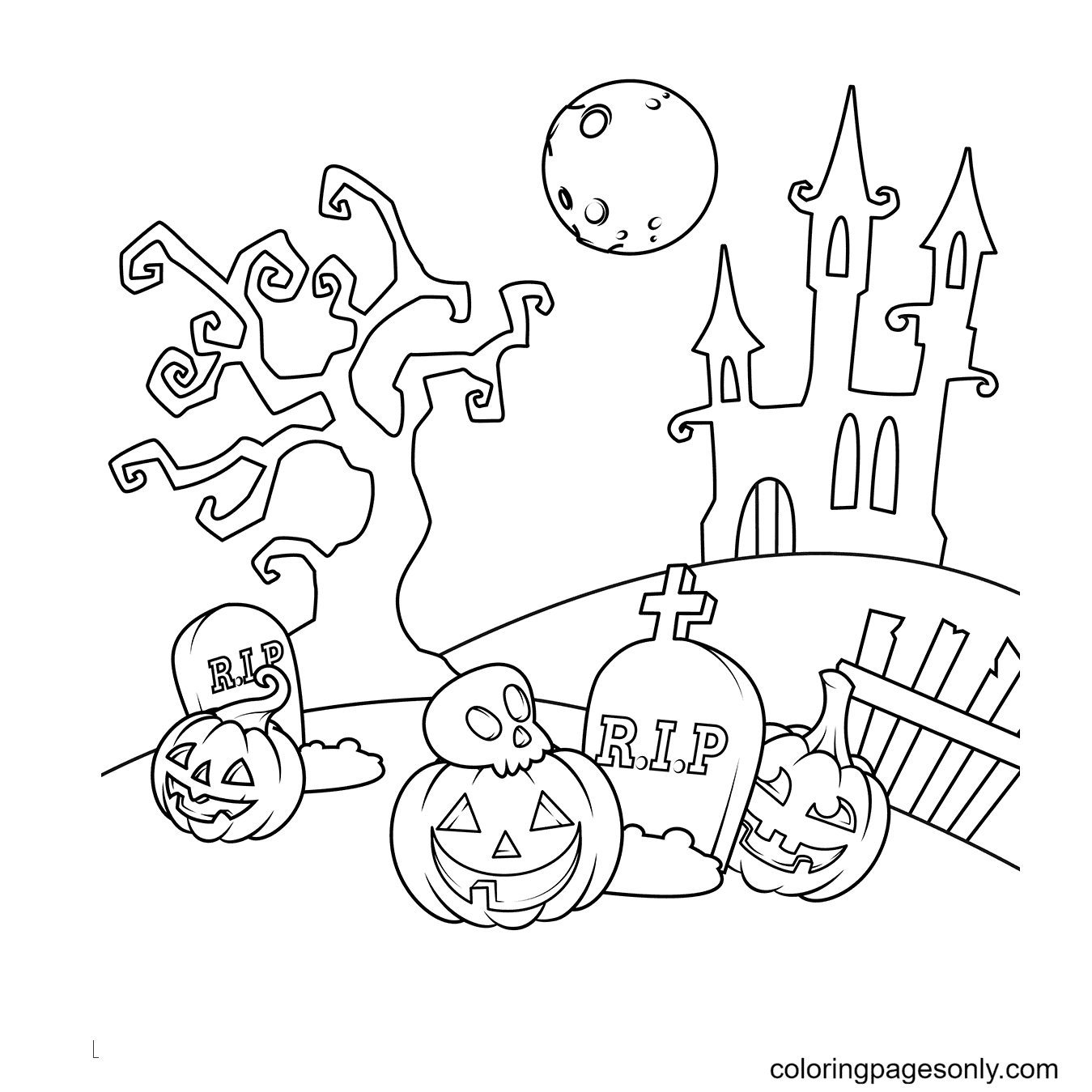 Haunted house and Pumpkin Lights Next to the Graves Coloring Page