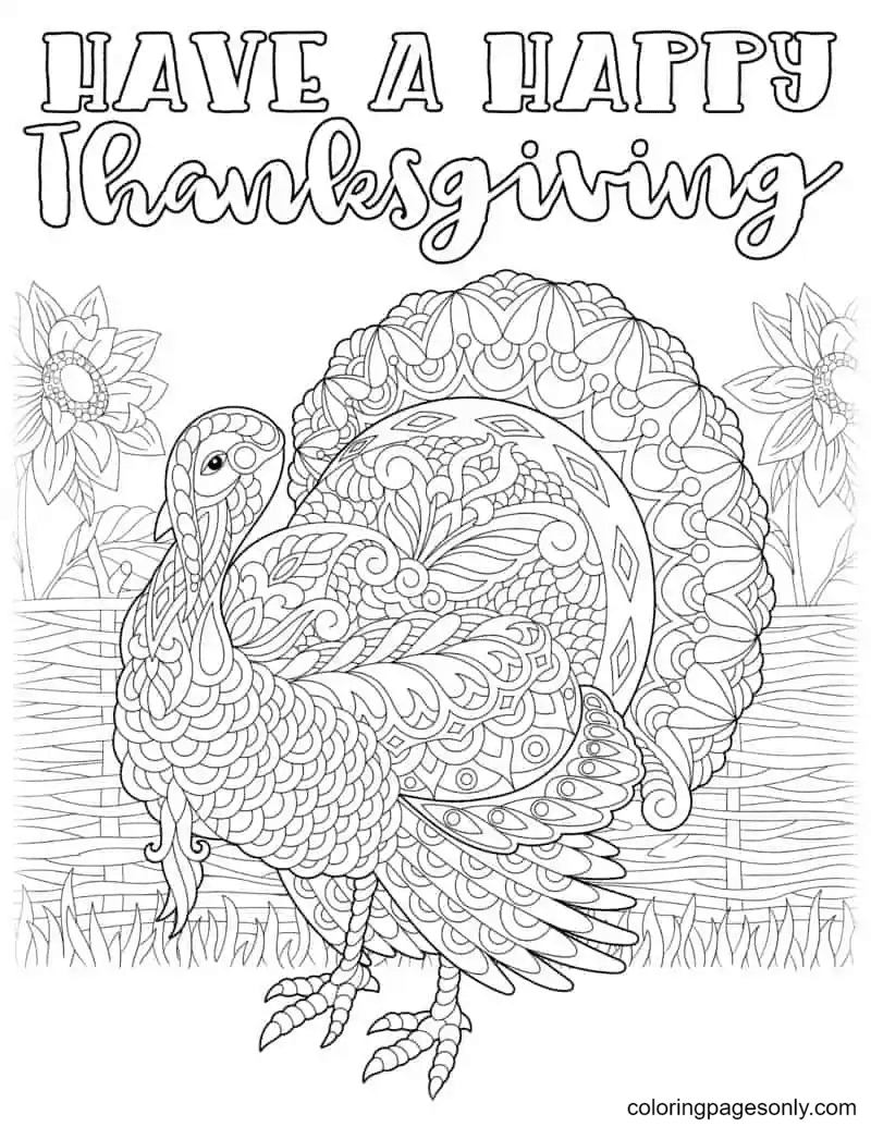 Have a Happy Thanksgiving Coloring Page