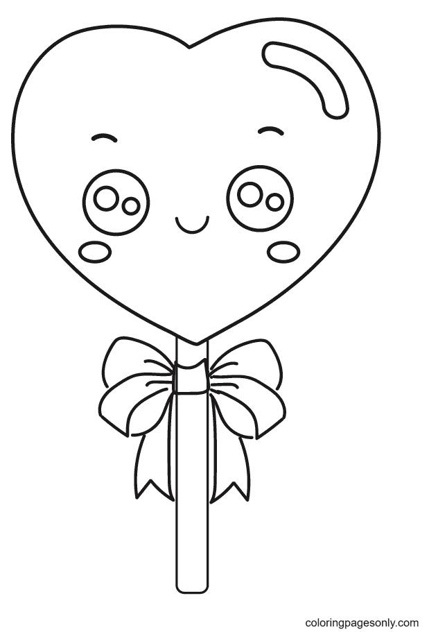 Heart Lollipop Coloring Page
