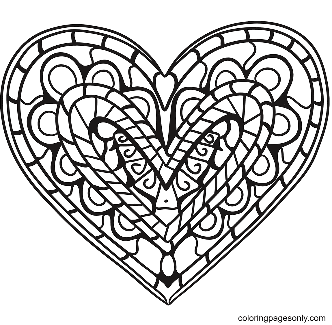 Heart Zentangle Coloring Page