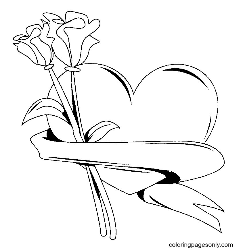 Heart and Flower Coloring Page